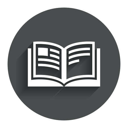 Book sign icon. Open book symbol. Circle flat button with shadow. Modern UI website navigation. Vector
