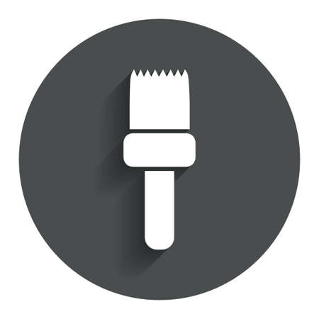 Paint brush sign icon. Artist symbol. Circle flat button with shadow. Modern UI website navigation. Vector Vector