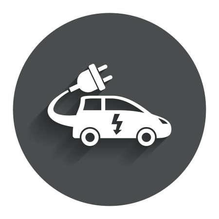 electric vehicle: Auto elettrica icona segno. Simbolo Hatchback. Trasporto del veicolo elettrico. Bottone piatto Cerchio con ombra. Sito web UI navigazione moderna. Vettore