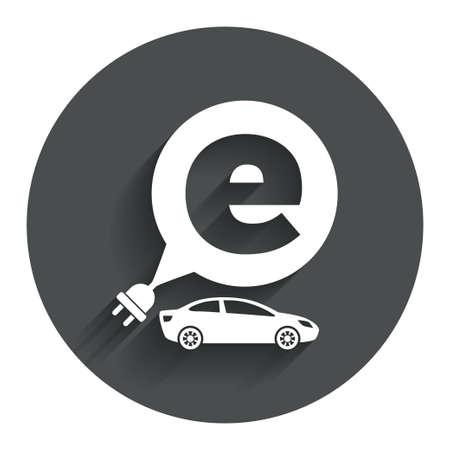 electric vehicle: Auto elettrica icona segno. Sedan simbolo berlina. Trasporto del veicolo elettrico. Bottone piatto cerchio con ombra. Sito web UI navigazione moderna. Vettore