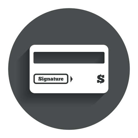 cashless payment: Credit card sign icon. Debit card symbol. Virtual money. Circle flat button with shadow. Modern UI website navigation. Vector