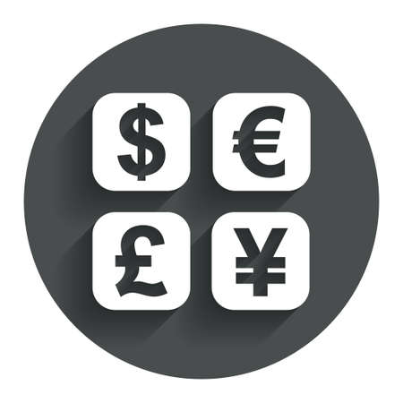 converter: Currency exchange sign icon. Currency converter symbol. Money label. Circle flat button with shadow. Modern UI website navigation. Vector