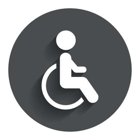 Disabled sign icon. Human on wheelchair symbol. Handicapped invalid sign. Circle flat button with shadow. Modern UI website navigation. Vector Vector