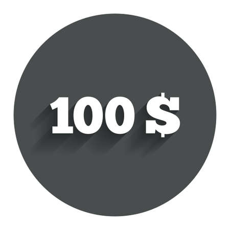 usd: 100 Dollars sign icon. USD currency symbol. Money label. Circle flat button with shadow. Modern UI website navigation. Vector