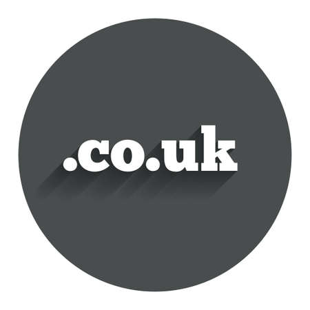 subdomain: Domain CO.UK sign icon. UK internet subdomain symbol. Circle flat button with shadow. Modern UI website navigation. Vector Illustration