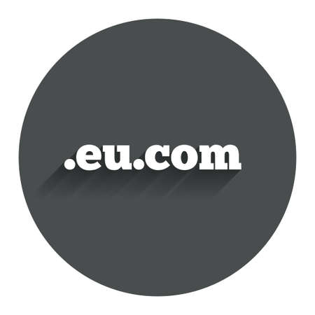subdomain: Domain EU.COM sign icon. Internet subdomain symbol. Circle flat button with shadow. Modern UI website navigation. Vector