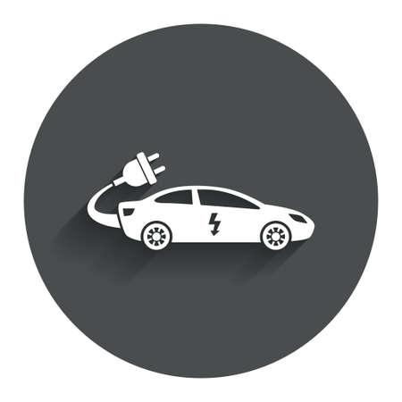 electric vehicle: Elettrico icona segno dell'automobile. Sedan simbolo saloon. Trasporto di veicoli elettrici. Bottone piatto cerchio con ombra. Sito web UI di navigazione moderna. Vettore