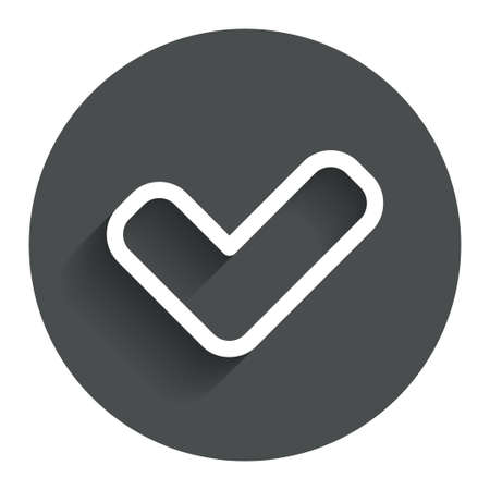check sign: Check sign icon. Yes button. Circle flat button with shadow. Modern UI website navigation. Vector