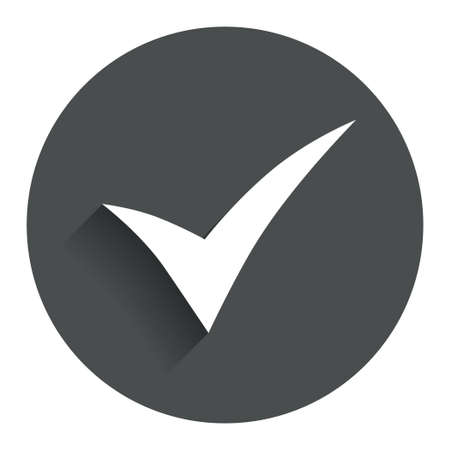 check sign: Check sign icon. Yes symbol. Confirm. Circle flat button with shadow. Modern UI website navigation. Vector Illustration