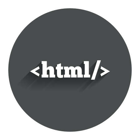 markup: HTML sign icon. Markup language symbol. Circle flat button with shadow. Modern UI website navigation. Vector