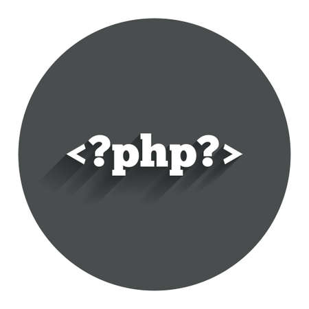 php: PHP sign icon. Programming language symbol. Circle flat button with shadow. Modern UI website navigation. Vector Illustration