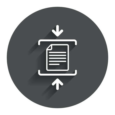 zipped: Archive file sign icon. Compressed zipped file symbol. Arrows. Circle flat button with shadow. Modern UI website navigation. Vector