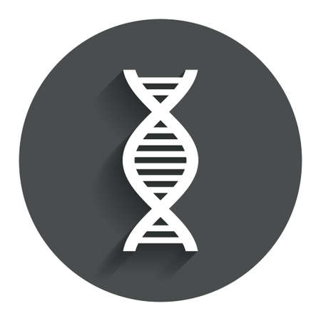 deoxyribonucleic: DNA sign icon. Deoxyribonucleic acid symbol. Circle flat button with shadow. Modern UI website navigation. Vector