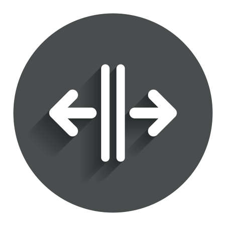automatic doors: Open the door sign icon. Control in the elevator symbol. Circle flat button with shadow. Modern UI website navigation. Vector Illustration