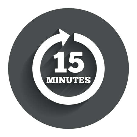 every: Every 15 minutes sign icon. Full rotation arrow symbol. Circle flat button with shadow. Modern UI website navigation. Vector Illustration