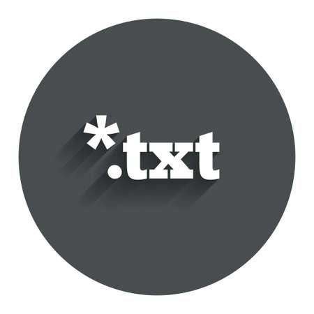 txt: Text file icon. Download txt doc button. Txt file extension symbol. Circle flat button with shadow. Modern UI website navigation. Vector Illustration