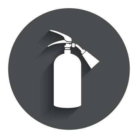 fire extinguisher sign: Extintor signo icono. S�mbolo de seguridad contra incendios. C�rculo de bot�n plano con la sombra. Modern sitio web de interfaz de usuario de navegaci�n. Vector Vectores