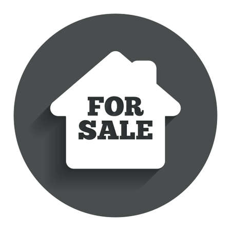 for sale sign: For sale sign icon. Real estate selling. Circle flat button with shadow. Modern UI website navigation. Vector