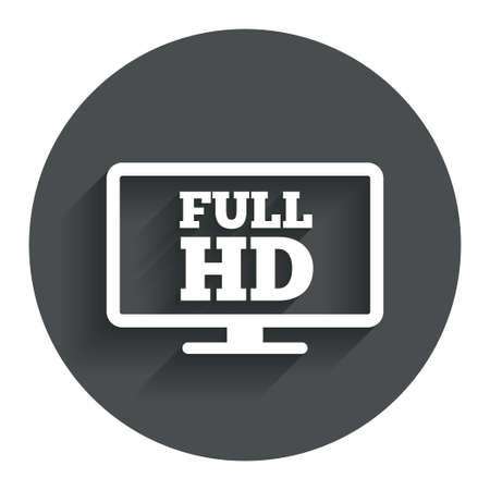 full screen: Full hd widescreen tv sign icon. High-definition symbol. Circle flat button with shadow. Modern UI website navigation. Vector