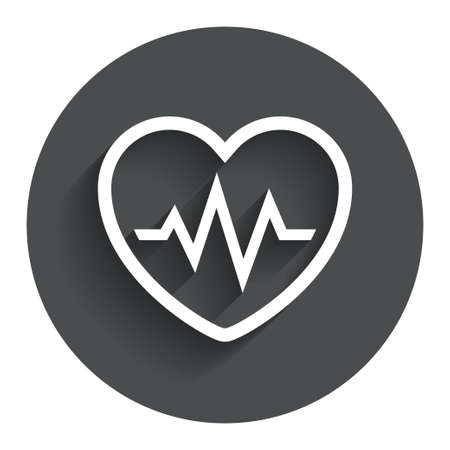 Heartbeat sign icon. Cardiogram symbol. Circle flat button with shadow. Modern UI website navigation. Vector Vector