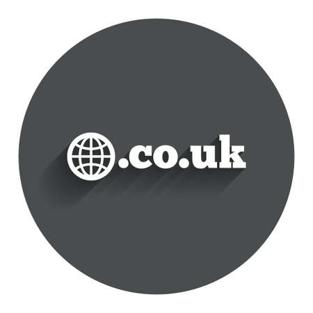 subdomain: Domain CO.UK sign icon. UK internet subdomain symbol with globe. Circle flat button with shadow. Modern UI website navigation. Vector