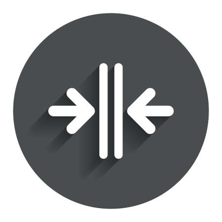 automatic doors: Close the door sign icon. Control in the elevator symbol. Circle flat button with shadow. Modern UI website navigation. Vector Illustration