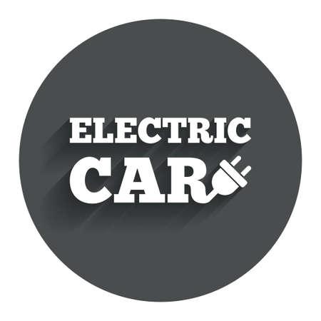 electric vehicle: Auto elettrica icona segno. Elettrico simbolo trasporto del veicolo. Bottone piatto Cerchio con ombra. Sito web UI navigazione moderna. Vettore