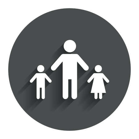 one parent: One-parent family with two children sign icon. Father with son and daughter symbol. Circle flat button with shadow. Modern UI website navigation. Vector Illustration