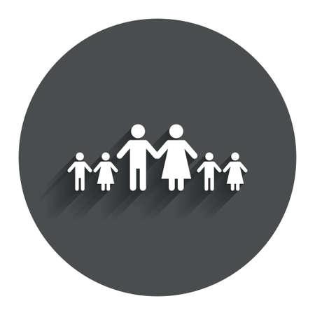famiglia numerosa: Famiglia completa con il segno molti bambini icona. Grande simbolo di famiglia. Bottone piatto Cerchio con ombra. Sito web UI navigazione moderna. Vettore Vettoriali