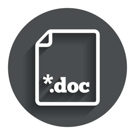 file extension: File document icon. Download doc button. Doc file extension symbol. Circle flat button with shadow. Modern UI website navigation. Vector Illustration
