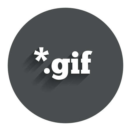 File GIF sign icon. Download image file symbol. Circle flat button with shadow. Modern UI website navigation. Vector Illustration