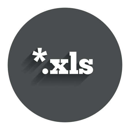 xls: Excel file document icon. Download xls button. XLS file extension symbol. Circle flat button with shadow. Modern UI website navigation. Vector
