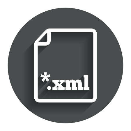 extensible: File document icon. Download XML button. XML file extension symbol. Circle flat button with shadow. Modern UI website navigation. Vector