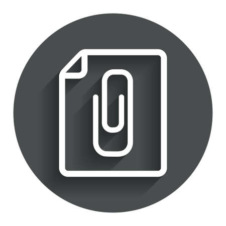 File annex icon. Paper clip symbol. Attach symbol. Circle flat button with shadow. Modern UI website navigation. Vector