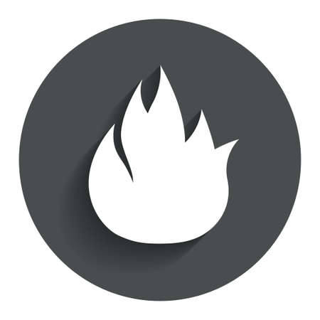 fire circle: Fire flame sign icon. Fire symbol. Stop fire. Escape from fire. Circle flat button with shadow. Modern UI website navigation. Vector