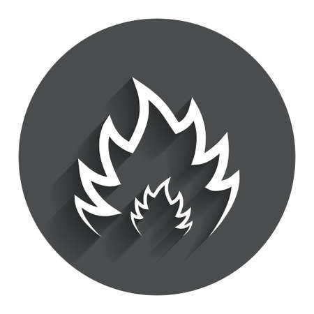 fire circle: Fire flame sign icon. Heat symbol. Stop fire. Escape from fire. Circle flat button with shadow. Modern UI website navigation. Vector