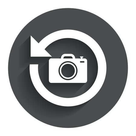 button front: Front photo camera sign icon. Digital photo camera symbol. Change front to back. Circle flat button with shadow. Modern UI website navigation. Vector Illustration