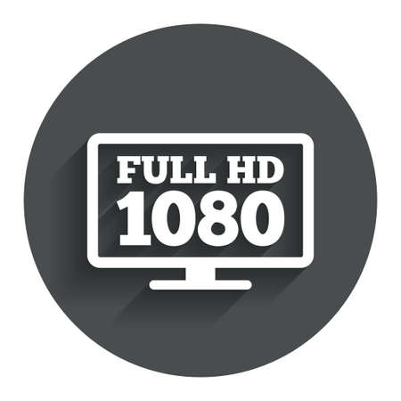 full hd: Full hd widescreen tv sign icon. 1080p symbol. Circle flat button with shadow. Modern UI website navigation. Vector