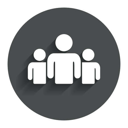 Group of people sign icon. Share symbol. Circle flat button with shadow. Modern UI website navigation. Vector