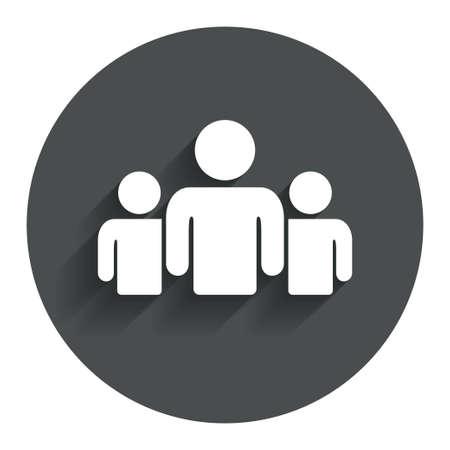 Un groupe de gens signer icône. Partager symbole. Cercle bouton plat avec ombre. Moderne site UI navigation. Vecteur Vecteurs
