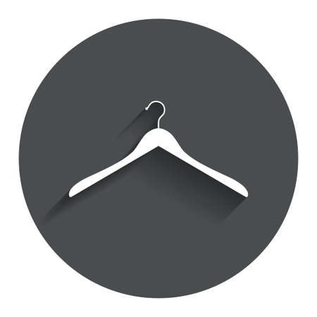 cloakroom: Hanger sign icon. Cloakroom symbol. Circle flat button with shadow. Modern UI website navigation. Vector