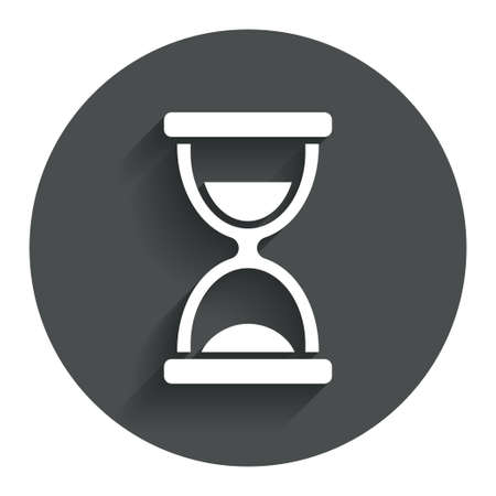 sandglass: Hourglass sign icon. Sand timer symbol. Circle flat button with shadow. Modern UI website navigation. Vector Illustration