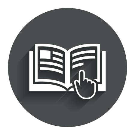 Instructie teken pictogram. Manual boek symbool. Lees voor gebruik. Cirkel flat knop met schaduw. Modern UI website navigatie. Vector Stock Illustratie
