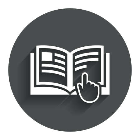 Instruction sign icon. Manual book symbol. Read before use. Circle flat button with shadow. Modern UI website navigation. Vector Çizim