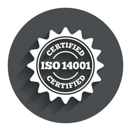 accepted: ISO 14001 certified sign icon. Certification star stamp. Circle flat button with shadow. Modern UI website navigation. Vector Illustration