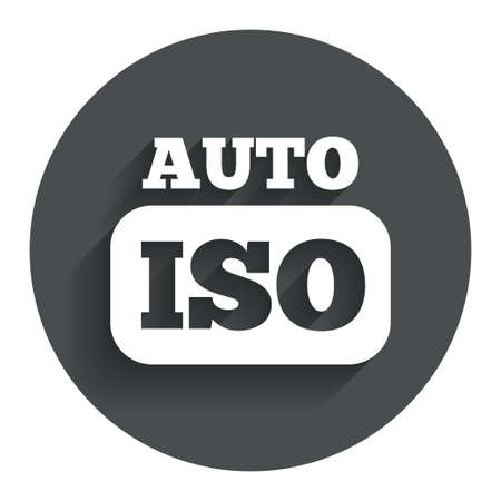 hosszú expozíció: ISO Auto photo camera sign icon. Settings symbol. Circle flat button with shadow. Modern UI website navigation. Vector