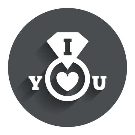 I Love you sign icon. Valentines day symbol. Circle flat button with shadow. Modern UI website navigation. Vector Vector