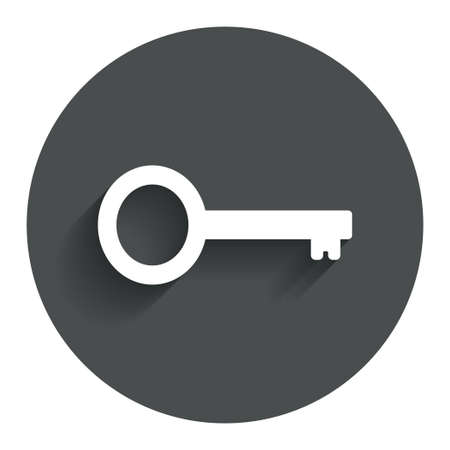 Key sign icon. Unlock tool symbol. Circle flat button with shadow. Modern UI website navigation. Vector