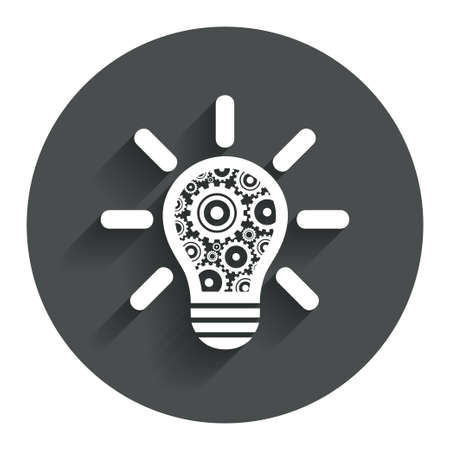 Light lamp sign icon. Bulb with gears and cogs symbol. Idea symbol. Circle flat button with shadow. Modern UI website navigation. Vector Vector