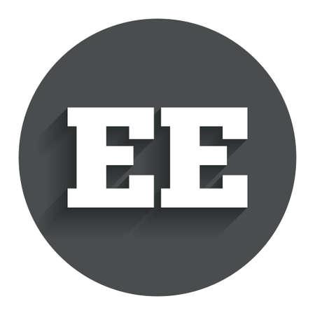 ee: Estonian language sign icon. EE translation symbol. Circle flat button with shadow. Modern UI website navigation. Vector